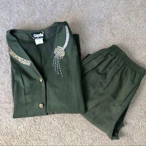 Two Piece Vintage Olive Pant Suit | Sz Large